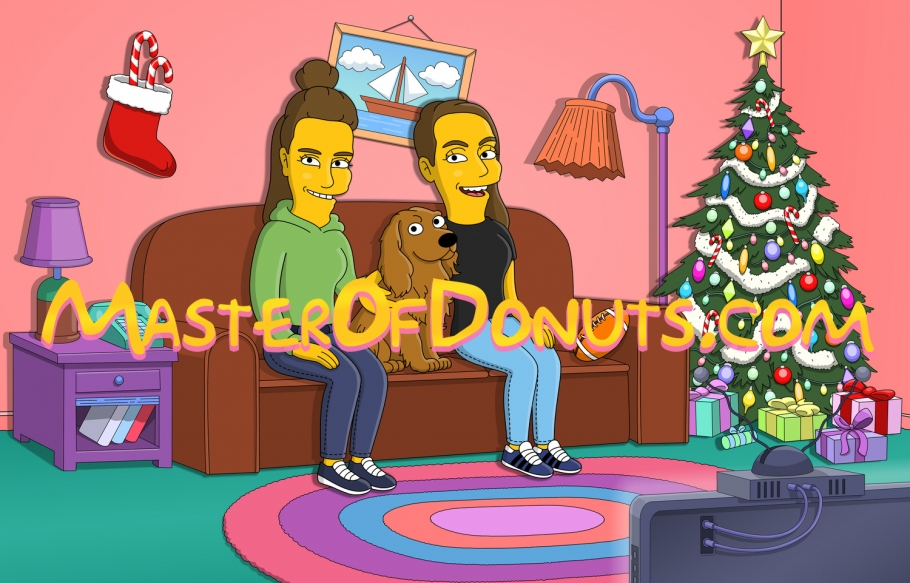 Christmas cartoon family portrait